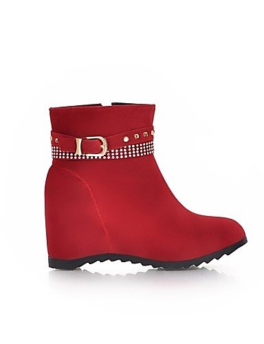 Botas Moda Casual Vellón Rojo Mujer Eu36 De Cn36 Amarillo Punta Vestido us6 Red A Xzz Cuñas Zapatos Cuña Uk4 Tacón Redonda La negro Ep86TnPWqn