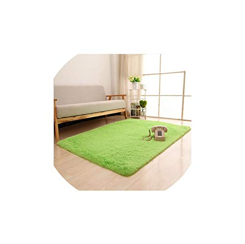 Soft Long Plush Silky Mat Carpet Solid Door Area Rug Bedroom Living Room Window Bedside,Fruit Green,1200Mm X 1200Mm