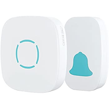 MoKo Wireless Doorbell, Plug-in Push Button with 36 Chimes, 5-Level Adjustable Volume, Battery-operated Transmitter(No Battery Required for Receiver), Work Over 900-feet(300m) Range, WHITE