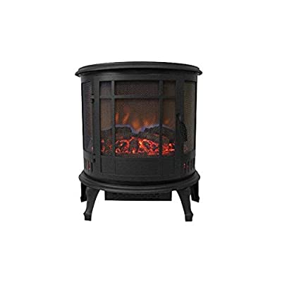 Rabinyod Bulan Comfort Glow The Claremont 3-Sided Viewing Electric Stove, Black