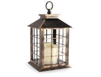 Brushed Lantern with Candle - Plastic - Antique Gold - 5.5 x 10.9375 inches (Gold Centerpieces Lantern)