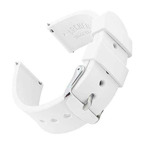 Archer Watch Straps Silicone Quick Release Soft Rubber Replacement Watch Bands for Men and Women (White, 18mm)