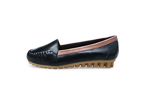 AdeeSu Womens Retro Fashion No-Closure Comfort Pleather Flats Shoes SDC03697 Black PQTpM