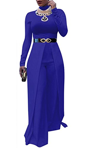 JOKHOO Womens Wide Leg Jumpsuits Long Sleeve High Waisted Flare Palazzo Pants Suit (Blue, XL)