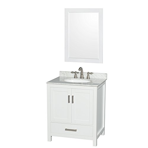 Wyndham Collection Sheffield 30 inch Single Bathroom Vanity in White, White Carrara Marble Countertop, Undermount Oval Sink, and 24 inch Mirror