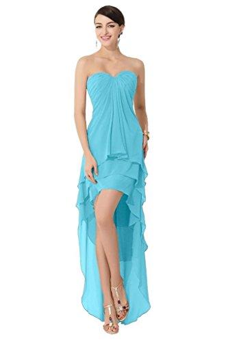 Mousseline De Soie Pageant Haut Bas Besswedding Robes De Soirée 2016 Robes De Bal Cocktail Bleu