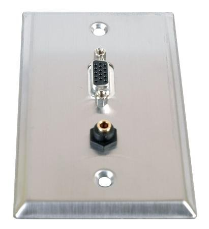 (Stainless Steel Hd15 Vga Plus 3.5mm Audio Jack Wall Plate-2pack)