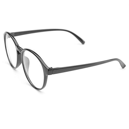 0a189a103c7 PenSee Oversized Circle Eyeglasses Frame Inspired Horned Rim Clear Lens  Glasses (Black)
