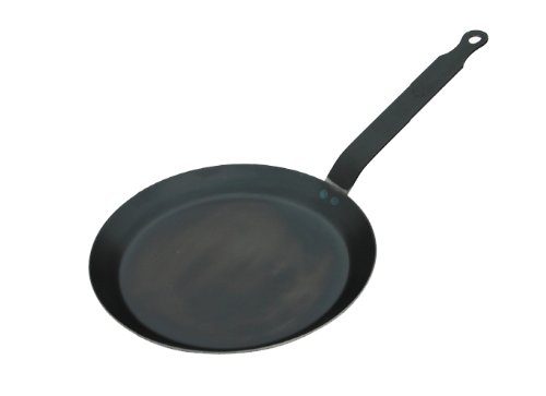- De Buyer Crepe Pan, Blue Steel, Made in France, 8-Inch Cooking Surface, 9.5-Inches Rim to Rim