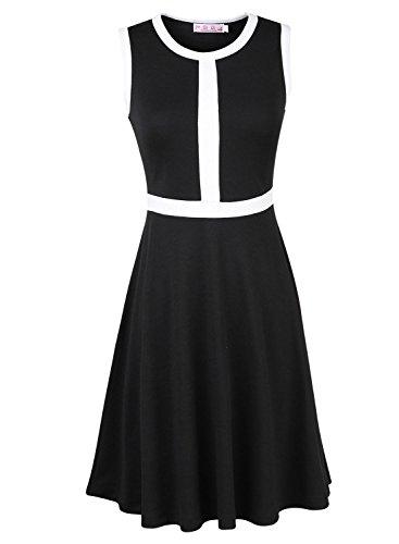 ARTEMISES Womens Sleeveless Frocks Bouffancy Tunic Party Dress (XL, Black)