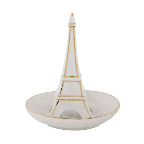 Creative Co-op White Stoneware Ring Dish with Eiffel Tower & Gold Detail (Tower Ring Eiffel)