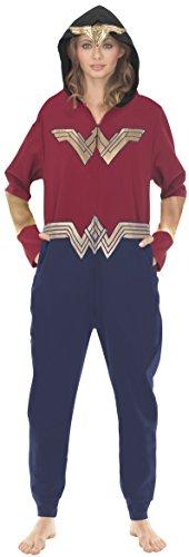 Underboss Unisex Adult Wonder Woman Union Suit Pajama With Drop Seat, X-Large