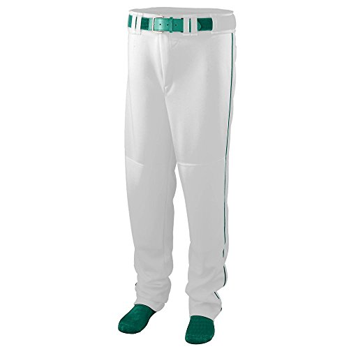 - Augusta Sportswear 1446 Boys' Series Baseball Pants with Piping, Large, White/Dark Green