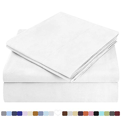 HOMEIDEAS Bed Sheets Set Extra Soft Brushed Microfiber 1800 Bedding Sheets - Deep Pocket, Wrinkle  Fade Free - 4 Piece(Queen,White) best to buy
