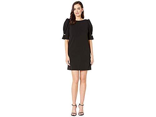 Tahari by ASL Women's Short Puff Sleeve Stretch Crepe Dress Black 4