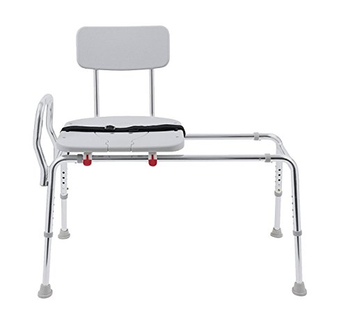 Sliding Bath Transfer Bench with Replaceable Cut-Out Seat (77391) - Extra Long (Base Length: 48'' - 49'') - Heavy-Duty Shower Bathtub Chair - Eagle Health Supplies by Eagle Health Supplies (Image #1)