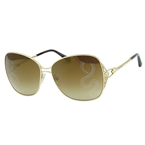 2018 Roberto Cavalli Gambassi RC-1060 Women Square Gold Metal Snake Mirror - Roberto Cavalli Sunglasses Snake