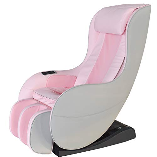 Zero Gravity Full Body Electric Shiatsu Massage Chair Recliner with Heat Therapy Warm Massaging Rollers Air Pressure Massage L-Track Stretch Wireless Bluetooth Speaker USB Charger PS4 (Pink)