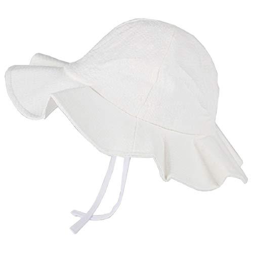 (Baby Ruffled-Sun Hat Cotton Adjustable-Hat White)