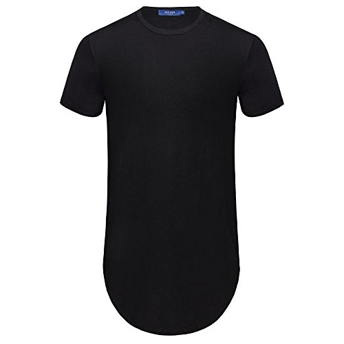 AIYINO Men's Plain Crew Neck T-Shirt Hipster Hip Hop Short Sleeve T-Shirt with Zipper Trim