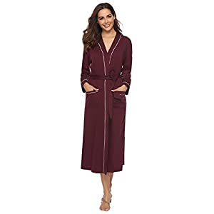 Aibrou Bathrobe, Soft Cotton Full Length Nightwear Dressing Gown Robe with Pockets for Men & Women