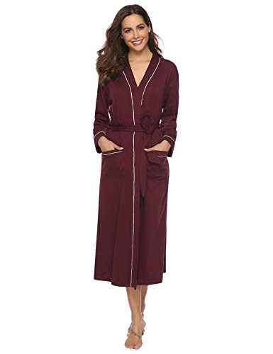 Aibrou Women's Cotton Knit Long Kimono Robe Spa Bathrobe Soft Sleepwear (Wine Red, Large) Cotton Extra Long Robe