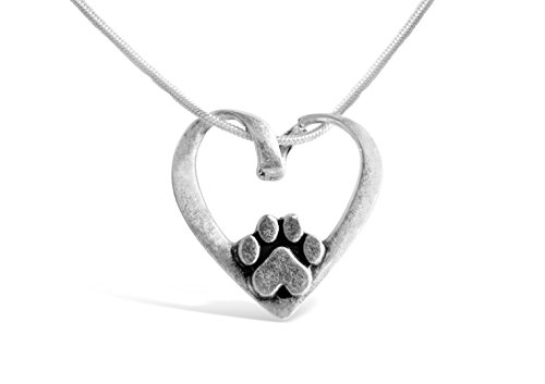 Rosa Vila Heart Shape with Dog Paw Necklace, Puppy Necklace for Owners of All Dog Breeds, Dog Remembrance Necklace, Veterinarian Necklace and K9 Officer Gift for Women (Silver Tone) (Paw Prints Tzu Shih)