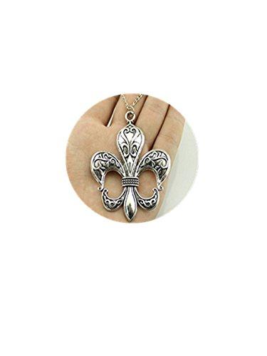 2 colors antique bronze, antique silver tone big fleur de lis pendant necklace , 70cm chain long necklace