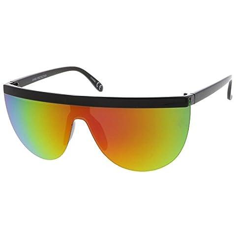 sunglassLA - Futuristic Semi-Rimless Flat Top Colored Mirror Mono Lens Shield Sunglasses 65mm (Black / Magenta Green (Magenta Green)