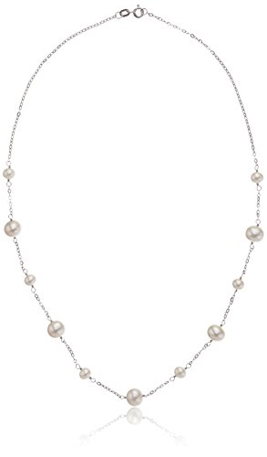 """Honora 14k White Gold White Freshwater Cultured Pearl Tin Cup Necklace, 18"""""""