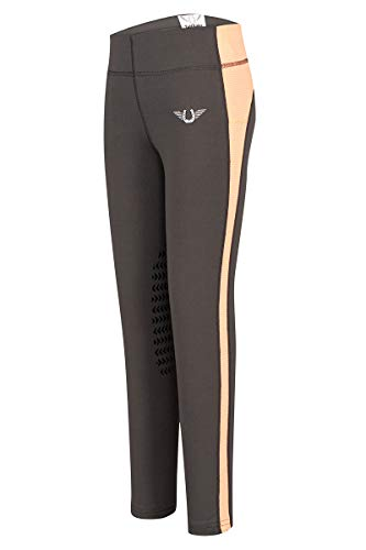 Tuffrider Riding Jeans - TuffRider Children's Ventilated Schooling Riding Tights|Color-Charcoal/NeonPeach|Size-X-Large