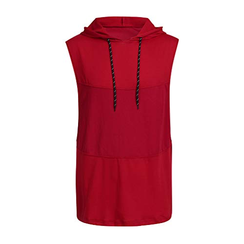 Sunhusing Men's Solid Color Sleeveless Hooded Vest Casual Patchwork Shirt Sports Drawstring Tank Top Red (Raisin Infant Girl)