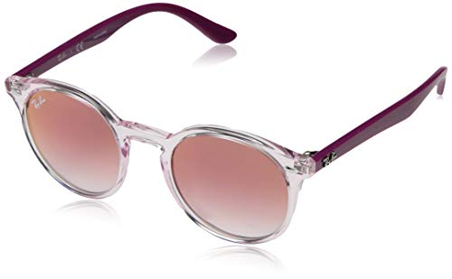 Ray-Ban Junior RJ9064S Round Kids Sunglasses, Transparent Pink/Red Mirror Red, 44 mm