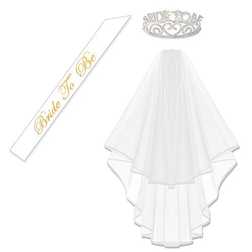 KUNG FU PARTY Glitter Rhinestone Bride to Be Tiara and White Double Ribbon Edge Center Cascade Bridal Wedding Veil with Comb and Bride to Be Satin Sash