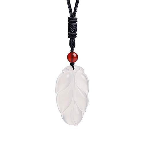 iSTONE Unisex Genuine Round Gemstone Beads Pendant Necklace with Adjustable Nylon Cord 24 Inch (Chalcedony Leaf)