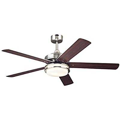 Westinghouse 7209100 Transitional Castle LED 52 inch Brushed Nickel Indoor Ceiling Fan, LED Light Kit with Opal Frosted Glass