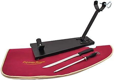 JAMONERO Negro Plegable FC + Set Burdeos Soporte JAMONERO Plegable Tipo C con Cuchillo JAMONERO CHAIRA Y Cubre Jamon DE Regalo para JAMONES PALETAS Y PALETILLAS (Set Burdeos)