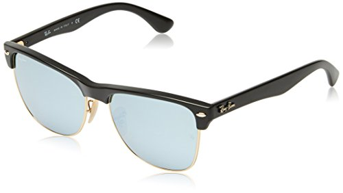 Ray-Ban CLUBMASTER OVERSIZED - DEMI SHINY BLACK Frame LIGHT GREEN MIRROR SILVER Lenses 57mm - Ban Frame Ray Sizes Clubmaster