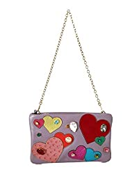 Leather Heart Crystal Clutch Bag