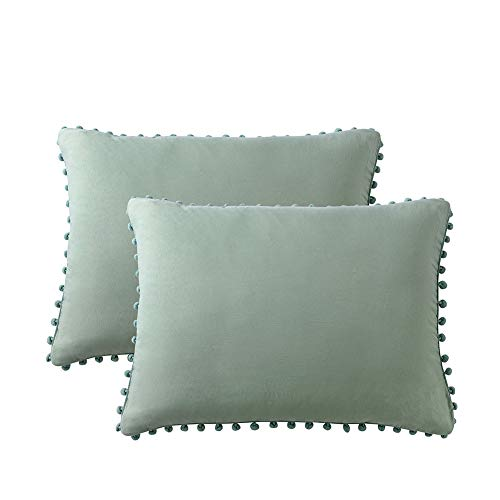 MOVE OVER Dark Green Pom Poms Pillow Case, Green King Pillowcases Set of 2, 100% Washed Microfiber, Sea Green Ball Fringe Pillow Shams King 2 Pack (King, Sage Green)