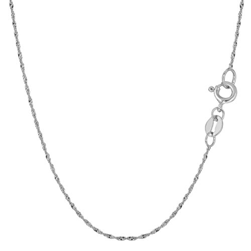 (10k White Gold Singapore Chain Necklace, 1.0mm, 18