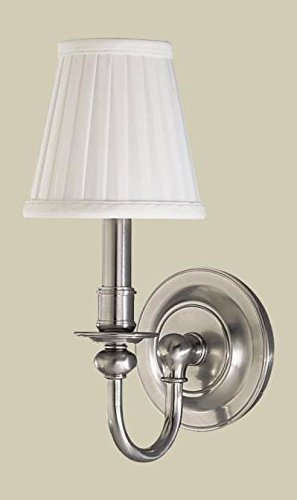 Aged Brass Newport 1 Light Wall Sconce with Pleated Faux Silk Shade