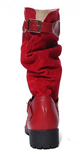 Idifu Womens Décontracté Épissé Slouchy Mi-mollet Bottes Équitation Chaussons Talons Bas Rouge