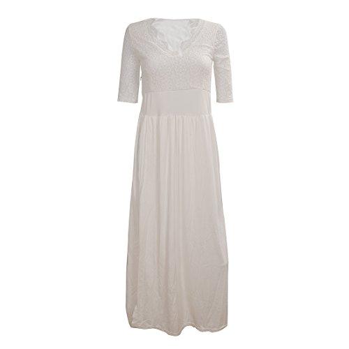 SODIAL(R) Robe de veste en dentelle pour femme Robe de fente laterale de bal soiree Blanc XL