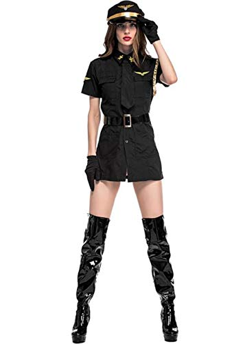 Women Halloween Pilot Costume, Stewardess Cosplay Costume Makeup Party (Black) ()