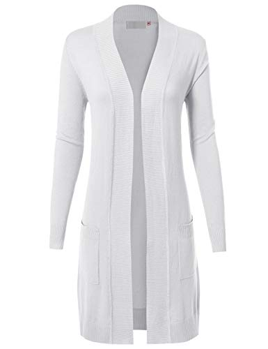 MAYSIX APPAREL Womens Long Sleeve Long Line Knit Sweater Open Front Cardigan W/Pocket White XL
