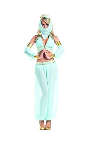 [Adult Women's 7 Piece Sexy Belly Dancer Arabian Princess Halloween Party Costume] (Genie Outfit)