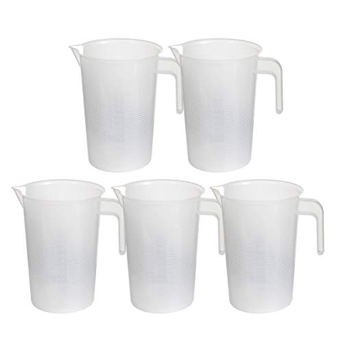 Saim Plastic Graduated Pitcher Measuring Cups 2000ml/70oz BPA Free Liquid Measuring Containers Kitchen Utensils Gadgets Measuring Tool with V-Shaped Spout & Measurement for Baker Pastry Cook, 5pcs