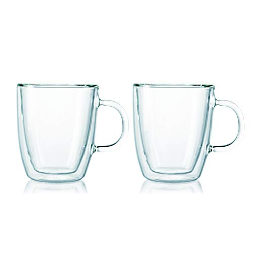 Bodum Bistro Double-Wall Insulated 10-Ounce Glass Mug, Set of 2 (Cup Uk Glasses Wine Tea)