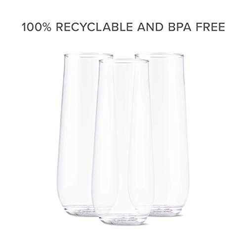 TOSSWARE 9oz Flute - Set of 252 recyclable champagne plastic cup - stemless, shatterproof and BPA-free Clear by TOSSWARE (Image #6)